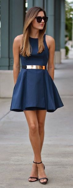 what shoes to wear with navy dress best outfits - cute dresses outfits Navy Dress, Dress Skirt, Dress Up, Belt For Dress, Cobalt Dress, Belted Dress, Skater Dress, Dress Black, Pretty Dresses