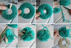 Afbeeldingsresultaat voor manualidades con lana faciles paso a paso Pom Pon, Pom Pom Rug, Diy Crafts For Gifts, Crafts For Kids, Arts And Crafts, Easy Fabric Flowers, How To Make A Pom Pom, Booties Crochet, Crafty Kids