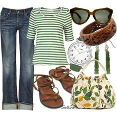 Striped Top - Jeans - Sandals