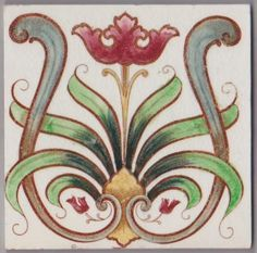 An elegant art nouveau floral design from The Henry Richards Tile Co., 1902-1931. The image is transfer printed in brown and han-dcolored in greens, rose, gold and blue and finished in a glossy clear...