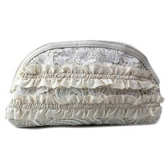 Magid 6849 Clutch,Ivory,One Size. The style name is Ruffles and Lace Clutch. The style number is 6849S-IVY. Brand Color: Ivory (Main Color: Ivory). Material: Canvas. Lining: Lined. Dimensions: 1 D in x 6.5 H in x 11.5 L in.