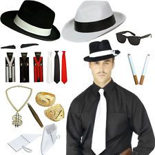 GANGSTER 1920S 20S MENS PIMP MOLL MAFIA ITALIAN FANCY DRESS COSTUME ACCESSORIES