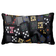 Multi-Color Black Dominoes Lumbar Pillow