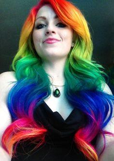 Doing Autumns hair rainbow colors this summer urn's rainbow hair - - Electric Banana - Hot Hot Pink - Rockabilly Blue - Voodoo Blue Funky Hairstyles, Pretty Hairstyles, Coiffure Hair, Coloured Hair, Dye My Hair, Cool Hair Color, Hair Colors, Rainbow Hair, Rainbow Brite