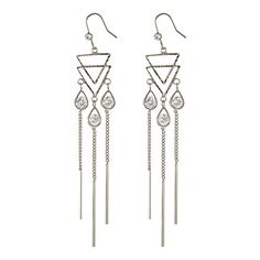Jade India Womens Triangle Rhinestone Tassel Earring Silver * Read more  at the image link. Note:It is Affiliate Link to Amazon.