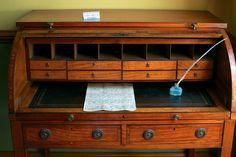 Rolltop desk. Campbell House, Toronto. Photo credits: Mary Lynn Muir, via Flickr. Rolltop Desk, Georgian, Regency, Colonial, Toronto, Mary, Table, House, Furniture