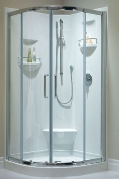 Neptune Sacha 40 Corner Neo-Round Shower with Integrated Seat and Built-In Storage With Finish: White And Shower Walls and Bases: 1 Piece Corner Shower Units, One Piece Shower, Bathroom Inspiration, Bathroom Ideas, Basement Bathroom, Condo Bathroom, Bathroom Renos, Tub To Shower Remodel, Neo Angle Shower