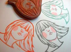 GIRLS ARE CRYING: Swing hair girl hand carved stamp