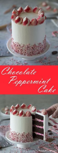 Chocolate Peppermint Cake via /preppykitchen/
