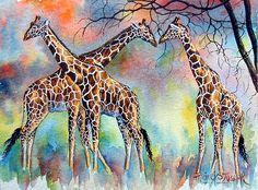 Three Reticulated Giraffe #watercolor