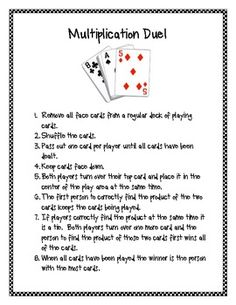 This game uses an ordinary deck of playing cards to practice multiplication facts. ...