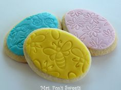 Bee & Flower Easter Egg Cookies by Mrs. Fox's Sweets    *Use clean rubber stamps