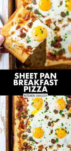 My breakfast pizza recipe is made with crispy maple bacon, breakfast sausage links, mozzarella cheese, and gooey sunny side up eggs. It's got all the elements of a glutenous breakfast and PERFECT for your next brunch party. With 6 eggs, you can serve 6 people and everyone gets their own egg. #breakfastpizzarecipe #brunchrecipes #brunch #breakfastpizza Breakfast Sausage Links, Gluten Free Recipes For Breakfast, Breakfast Items, Sausage Breakfast, Breakfast For Dinner, Brunch Recipes, Dinner Recipes, Pizza Recipes, My Recipes
