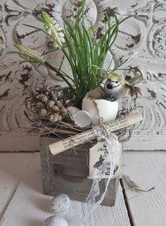 Holzkistchen Frühling kleines schwedenhaus Osterdeko weiß shabby chic Ostern