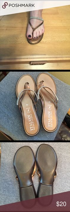 Dressy Flat Sandals Copper and Bling!  These Italian Shoemakers Sandals have never been worn and work great for summer casual or dress!  NWOT Italian Shoemakers Shoes Sandals