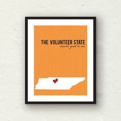 Tennessee Print  State print home decor  by PaperFinchDesign