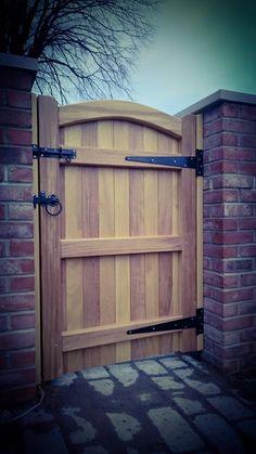 Wooden garden gates manufactured at our workshop in Warrington, Cheshire. Wooden Side Gates, Wood Fence Gates, Wooden Garden Gate, Fence Gate Design, Garden Gates And Fencing, Timber Gates, House Gate Design, Garden Doors, Fence Doors