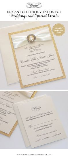 Elegant Gold Glitter Wedding Invitation. Makes a Gorgeous statement.  Can be used for special events too - Anniversary, Bat Mitzvah, Sweet Sixteen, Birthday etc.  Ivory metallic card stock, Gold Glitter paper, Ivory satin ribbon and Gold Crystal Buckle.  www.embellishedpaperie.com