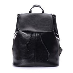 Artmis Womens Genuine Leather Backpack Vintage Daypack Cute Bookbag Black * This is an Amazon Affiliate link. To view further for this item, visit the image link.