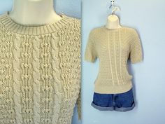80s textured sweater  NUBBY short sleeve sweater  by SnapVintage, $19.00