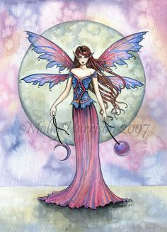Fairy Fine Art Fantasy Print by Molly Harrison 12 x 16  'Luna Jewel' - Beautiful Watercolor Giclee Print - Fairies, Faery, Illustration