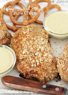 Honey Mustard Pretzel Pork Chops - might be my new family favorite... served it with some fresh slaw and an Italian green bean casserole, yum!