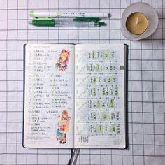 "2 Gostos, 1 Comentários - _somiiiii_ (@wty_somi) no Instagram: ""喜欢的几页 假装喜欢大自然 #green #weeks #hobo #hobonichi #hobonichiweeks #手帐"""