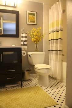 defiantly want a grey and yellow bathroom!