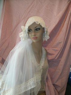 Items similar to bridal veil with vintage lace on Etsy 1920s Wedding, Wedding Veils, Wedding Dresses, Headpieces, Vintage Lace, Wedding Styles, Wedding Inspiration, Princess, Bridal