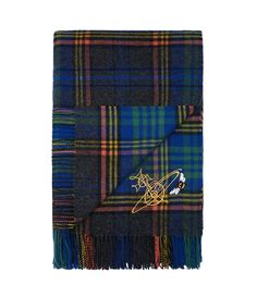 Johnstons of Elgin Blue Tartan Throw #AW16