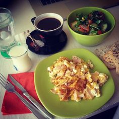 Saturday breakfast! Have a wonderfull day!  #Breakfast #goodmorning #morning #green #eggs #păpăraie #omelet #scrambledeggs #salad #salată #knife #fork #milk #coffee #zahăr #lapte #sugar #water #bread #cafea #instafood #picoftheday #bestoftheday #me #photooftheday      ioana_cis #instadaily #instalike #bestoftheday Photo by ioana_cis