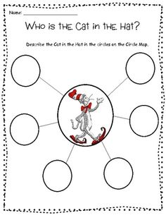 Describe the Cat in the Hat with this circle map...for dr. Seuss week!