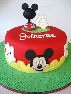 Mickey mouse cake - maybe the first birthday theme because he absolutely loves mickey mouse clubhouse and I want to be the kind of mom to give him what he wants and not what I want! Bolo Do Mickey Mouse, Mickey Mouse Theme Party, Mickey Mouse Clubhouse Cake, Mickey And Minnie Cake, Fiesta Mickey Mouse, Mickey Mouse Clubhouse Birthday, Minnie Mouse Cake, Mickey Birthday, 2nd Birthday
