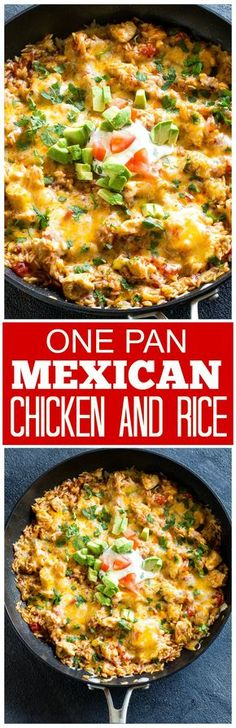 One Pan Mexican Chicken and Rice - an easy dinner ready in under 30 minutes! the-girl-who-ate-...
