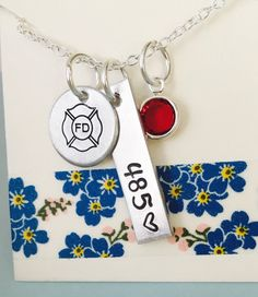 Firefighter Necklace,Firemans Wife Necklace, Personalized Firefighter Necklace, Badge Number Necklace, Fireman's Necklace