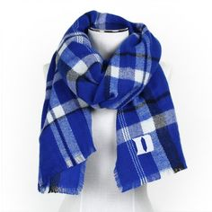 Women's ZooZatz Duke Blue Devils Blanket Scarf (€29) ❤ liked on Polyvore featuring accessories, scarves, multicolor, plaid blanket scarf, colorful scarves, tartan plaid blanket scarf, embroidered shawl and plaid shawl