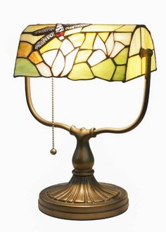 Tiffany Banker Table Lamp Desk Office Light Fixture Dragonfly & Lotus Flower Style Handcrafted Antique Stained Glass Base Iron SaveOnMany http://www.amazon.ca/dp/B00JGODKYE/ref=cm_sw_r_pi_dp_8T.vub082YDD0