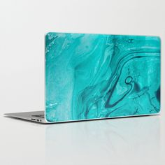 Teal Watercolor Laptop Skin