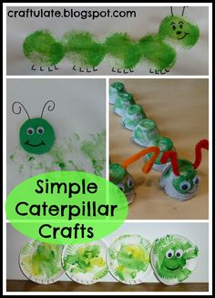 Simple Caterpillar Crafts            Egg Carton Caterpillar  I cut a large egg carton in half and gave F some green paint. He didn't get full coverage and I did have to help him a bit. After the paint had dried I added pipe cleaners and googly eyes.                    Handprint Caterpillar  After F had got all messy from