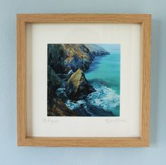 Framed print of St Agnes, Cornwall, from an original acrylic painting, framed prints, Cornish print, seascape print, rocks and cliffs by PenstoneArt on Etsy