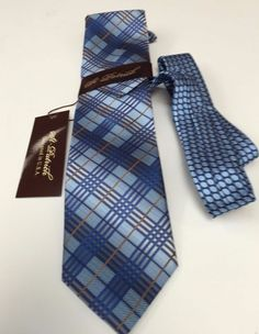76f01ee20915 New Men's St Patrick Navy Powder Blue, Brown & Silver Tie & Hanky
