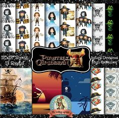 Pirates of the Caribbean Digital Paper Scrapbook Paper