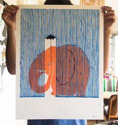 Poster in engraving format 50 × 65 cm. 2 colors wood engraving + black in . - Poster in engraving format 50 × 65 cm. Art And Illustration, Behance Illustration, Gravure Illustration, Elephant Illustration, Linocut Prints, Art Prints, Wood Engraving, Art Design, Graphic Design