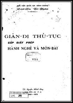 Luận Văn Tốt Nghiệp - Giản Dị Thủ Tục Cấp Giấy Phép Hành Nghề Và Môn Bài   Sách Việt Nam