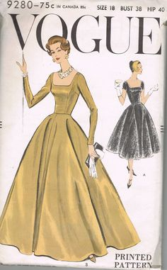 50s Vintage Vogue Sewing Pattern 9280 One Piece Dress Size 18 Ball Gown Evening Dress Bust 38