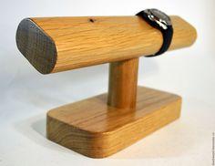 Купить Подставка, держатель для наручных часов. - коричневый, массив дерева, массив дуба, дуб, минимализм