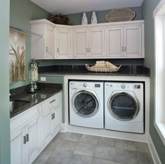 Nice utility room. My laundry area is as big as this one. I can do this.... just tell me how to keep all the clothes off of the counters... ?