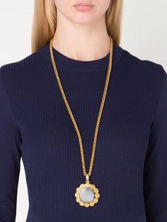 Chanel Vintage CC logo chain loupe pendant necklace