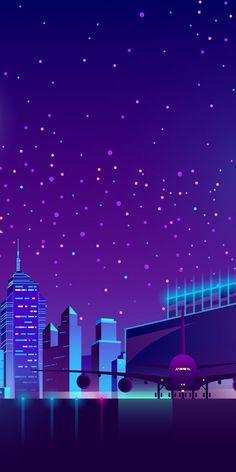 Neon artwork, night, cityscape wallpaper Iphone Wallpaper Photos, Space Phone Wallpaper, Cute Wallpaper For Phone, City Wallpaper, Scenery Wallpaper, Locked Wallpaper, Galaxy Wallpaper, Cyberpunk Aesthetic, Neon Aesthetic