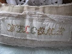Burlap and old lace Hand embroidered welcome Pillow